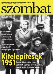 Szombat címoldal, a Dombi család a címlapon.