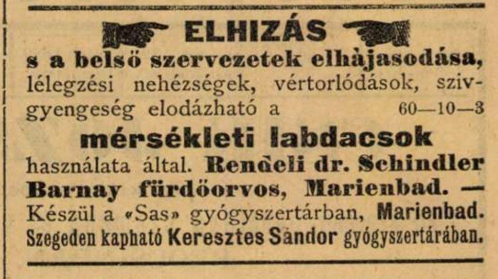 Dr. Schindler-Barnay Soma gyógyszerének hirdetése (Szegedi Híradó)